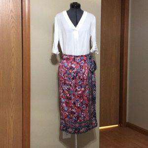 Loft Floral Skirt Midi